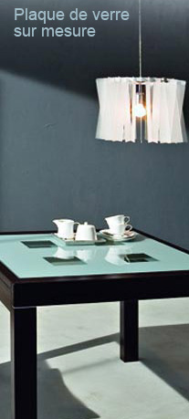 plaque de verre sur mesure pour table bureau console. Black Bedroom Furniture Sets. Home Design Ideas